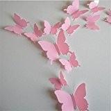 EXIU 12Pcs Stickers Muraux de Papillons 3D DIY Autocollants Décoration Murale Amovible Réutilisable Pour Chambre Salon --Rose