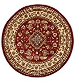 Extra Grand Rond Style Oriental Persan classique Motif floral traditionnel circulaire Tapis/Tapis, rouge – 180 x 180 cm