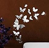 Extsud DIY Auotcollants Réfléchissant Stickers 3D Papillon Sticker Mural Miroir Décoration Murale pour Garderie Chambre de Bébé Enfant Salon etc