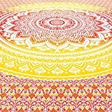 EYES OF INDIA - QUEEN YELLOW OMBRE MANDALA WALL HANGING TAPESTRY BEDSPREAD Beach Blanket Decor