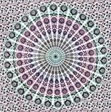 Fairdecor Tapisserie Fond Blanc avec plumes de paon Rose Violet Vert Mandala hippie Bohémien Décor indien pour chambre Psychédélique Suspension ...