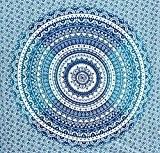 Fairdecor Tapisserie murale Motif croissant de lune Bleu Ombré Double Mandala indien Bohémienne couverture de plage, ou décoration de chambre ...