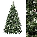 FAIRYTREES Arbre de Noël artificiel PIN, neige d'un blanc naturel, matériau PVC, véritables pommes de pin, avec pied, 180cm, FT03-180