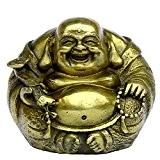 Fait à la main Laiton Set de Bouddha sur Lotus décoré Bouddha Rieur/Maitreya Bouddha Bronze figurine Sculpture Statue de décoration ...