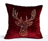 Fait à la main Motif cerf Housse de coussin en velours rouge foncé Marron–Or avec paillettes Antler Taie d'oreiller Cerf–Gifts, ...