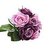 Fami 9 têtes de soie artificielle fleurs fausses feuilles rose mariage décoration florale bouquet (Violet)