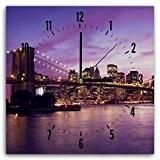 Feeby, Horloge Murale, Tableau Horloge Déco Panel, 30x30 cm, PONT DE BROOKLYN, NEW YORK, VUE, EDIFICES, GRATTE-CIEL, EAU, VIOLET