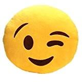 Feiyi 32 cm Emoji émoticônes sourire jaune oreiller rond doux oreiller for enfant / Amis/ Famille (Wink)