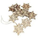 Fenical Sharp de 10pcs hexagonal en bois flocon de neige, décoration de sapin de Noël ornement (Architecture), suspension suspendus décoration ...