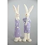 Figurine en porcelaine Lapin Mr et Mme Rabbit x2 - Dim 24 cm décoration original