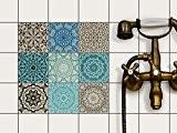 Film adhésif décoratif carreau | Mosaïque murale - Careller appartement | Motif Marocain | 10x10 cm (9 pièces)