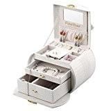 Finether Boîte à Bijoux Arquée Crocodile Grain Cuir de Maquillage Verrouillable Storage avec Couvercle Relevable, Miroir et Tiroirs Ivoire