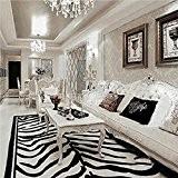 flashing- Rectangle pavée de tigre léopard main animal tapis maison table basse du salon moquette de la chambre en noir ...