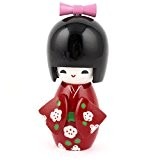 Fleur en bois-Motif Kimono décoration japonaise Kokeshi rouge/noir