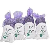 Fleurs de lavande séchées hkyiyo Lot de 4sacs pour chambre salon salle de bain armoire tiroir voiture Air Parfum Sachets