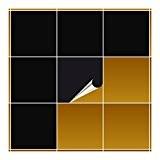 FoLIESEN Carrelage Adhésif pour cuisine et salle de bain–Noir brillant–20x 20cm Lot de 10