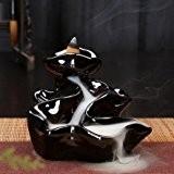 Fomccu en céramique d'arrosage arrière Porte encens Brûleur Lot de 10Cônes Incluent Noir