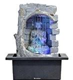 Fontaine d'intérieur Feng Shui Bouddha Rideau d'Eau 25 cm avec LED Multicolore