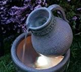 Fontaine Solaire Jarre et Bol effet Terre-Cuite - avec Lumières