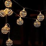 Foxpic 10 LED Boules Doré Métallique Marocain Guirlandes Lumineuse Alimentée par Batterie pour Noël, Fête, Mariage, Soirée d'Anniversaire, Décoration (Blanche ...