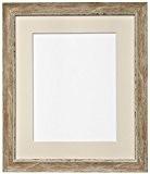 Frames by Post Cadre photo en bois vieilli avec passe-partout couleur ivoire Style scandinave, marron, 40x50cm Pic Size A3