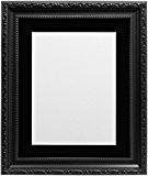 Frames by Post en verre plastique Cadre photo avec passe-partout Noir pour photo format A3, noir, 30mm de large, 50x ...