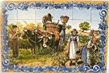 FRESQUE MURALE PEINTE pour cuisine, salle de bain ,entrée de maison... - 90x60cm (24 carreaux de 15x15cm) – Peinture sur ...