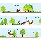 """Frise Wandkings """"animaux de la forêt"""" Longueur : 450 cm, auto-adhésive, pour les chambres d'enfants"""