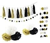 Furuix Noir Or blanc Parti Décoration Kit Joyeux Nouvel An Décoration Gold Glitter Party Banner Papier Tissu Pom Pom Fleur ...