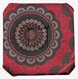 Galette de chaise anti-taches à rabat Mandala Rouge