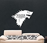 Game of Thrones Autocollant mural en vinyle avec inscription Winter is Coming Stark House et raclette de pose, noir foncé, ...