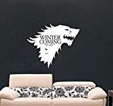 Game of Thrones Autocollant mural en vinyle avec inscription Winter is Coming Stark House et raclette de pose, noir foncé, ...