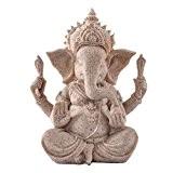 Ganesha Bouddha Elephant Statue de Grès Sculpture Figurine Fait à la Main