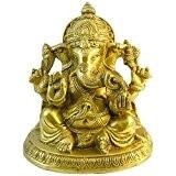 Ganesha en laiton 18cm Ganapati Dieu éléphant Ganesh porte-bonheur divinité hindoue Décoration Sculpture indienne