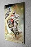 Garage Moto Plaque Émaillée Motocross de Wheelie Publicité Signes En Métal 20X30 cm
