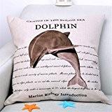GAXmi Décoration de maison Linge de coton Créature marine Dauphin Impression Coussin (L'insertion est incluse)