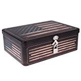 Gazechimp Boîte Fermeture à Clef Métallique Forme Carrée Rangement Stockage pour Bonbons Biscuits Thé Bijoux - Motif Drapeau USA