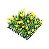 Gazon artificiel carré avec printemps Tulipe Temps Jaune Détail–Printemps/Pâques herbe/Shop Fenêtre–24cm 24x cm