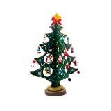 GEEDIAR Mini Arbre de Noël en bois Arbre Décoration de Noël Vitrine ou Table Décoration (Vert)