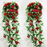 GEEDIAR® Rose Garland Artificiel Fleur Rose Artificielle et Feuille Verte Vine Garland Décoration Bricolage Fleur (Rouge)