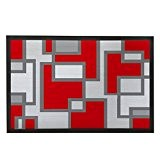 Géométrique avant Paillasson Gris et Rouge de cuisine unique Paillasson Tapis de porte d'entrée Way Bienvenue tapis intérieur Tapis D'Extérieur ...