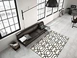 Géométrique Motif Tapis Moderne Plat Tapis Ivoire Noir - Noir, 80cm x 150cm