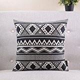 géométrique taie d'oreiller en coton noir et blanc/Simple et moderne coussin de canapé/coussins de chevet/oreiller lombaire-G 55x55cm(22x22inch)versionA