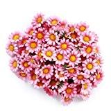 Gleader approx 100pcs artificielle Gerbera Daisy Soie Têtes de fleurs pour DIY fête de mariage (Rose clair)