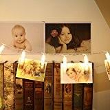Gledto 20 LED Guirlande-Clip Lumineuse Blanc chaud 220cm Strip lights à piles Décoration Romantique pour chambre maision jardin pelouse fêtes ...