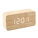 Goldfox® Horloge en bois Led Réveil digital en bois montre alarm (Bois Bambou Avec)