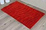 Gözze Tapis de bain vague, rouge, 70 x 120 cm