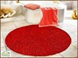 Gözze Tapis de laine épais Uni 110 cm rouge