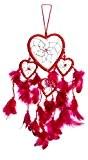 Grand 40cm x 9cm cœur amour Dreamcatcher Capteur de rêves rouge Rose Fuchsia Heart