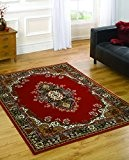 Grand médaillon traditionnelle de qualité-Design Oriental doux Tapis-Rouge - 160 x 220 cm (5 'x8')